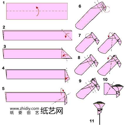 第6课 纸玫瑰 - 折纸入门——简单折纸教学 - 好知网