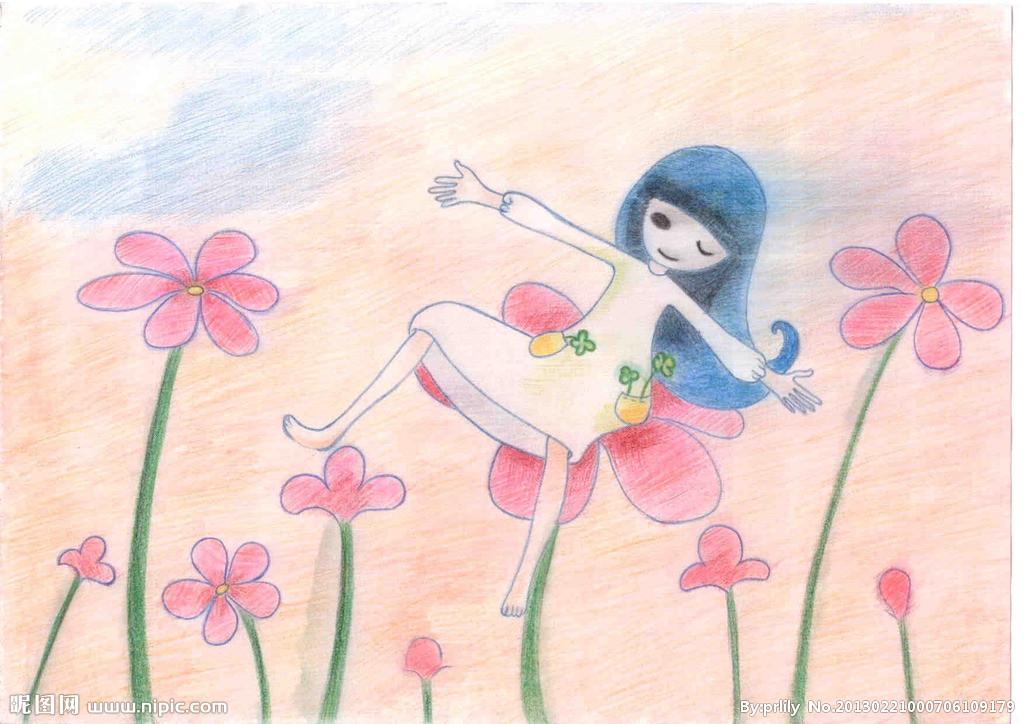 彩铅画手绘小女孩