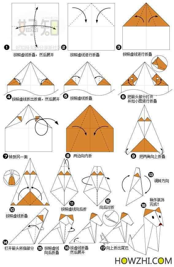 十二生肖之 狗 折纸