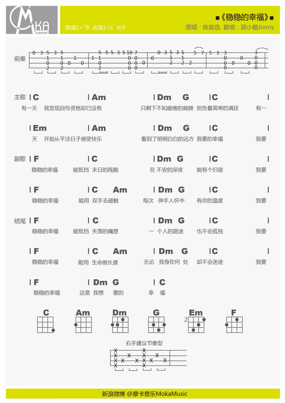 课题_青花瓷 ukulele谱 吉他谱 指弹谱 弹唱谱